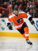 Matt Read of the Philadelphia Flyers skates against the Minnesota Wild on December 23 2013 at the Wells Fargo Center in Philadelphia Pennsylvania
