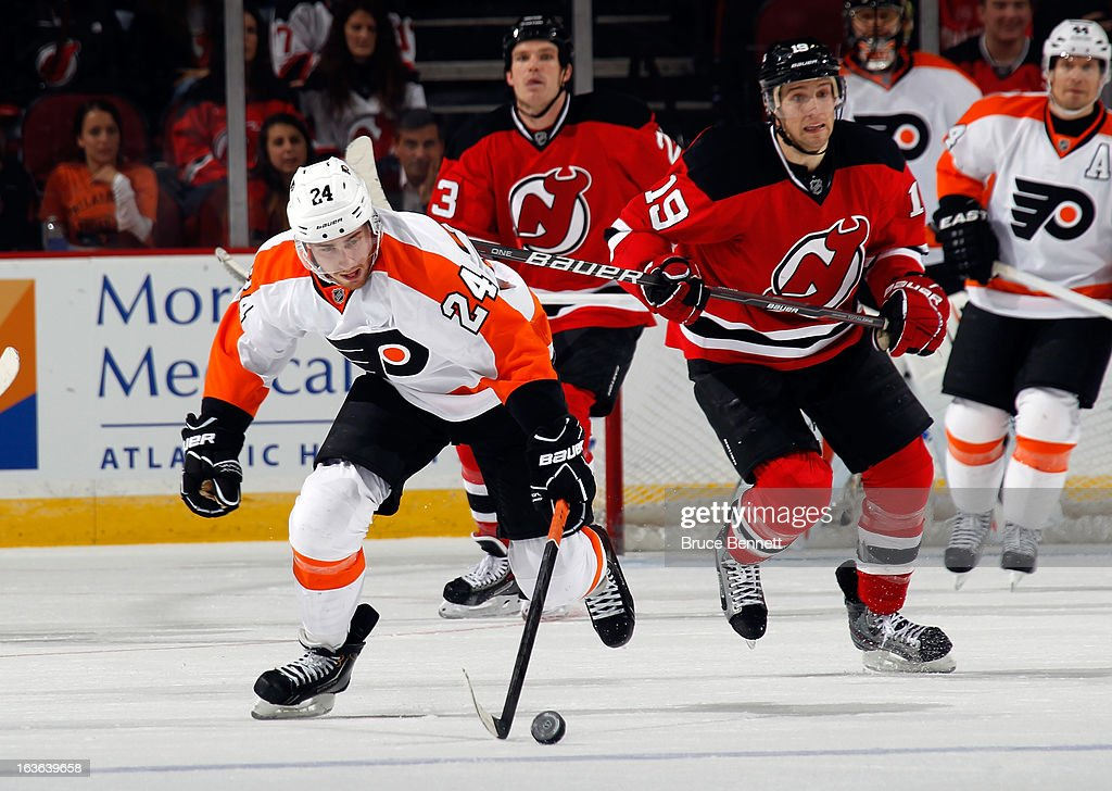 Matt Read #24 of the Philadelphia Flyers skates against the New Jersey Devils at the Prudential Center on March 13, 2013 in Newark, New Jersey. The Devils defeated the Flyers 5-2.