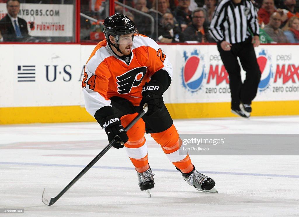 Matt Read of the Philadelphia Flyers skates against the New Jersey Devils on March 11 2014 at the Wells Fargo Center in Philadelphia Pennsylvania