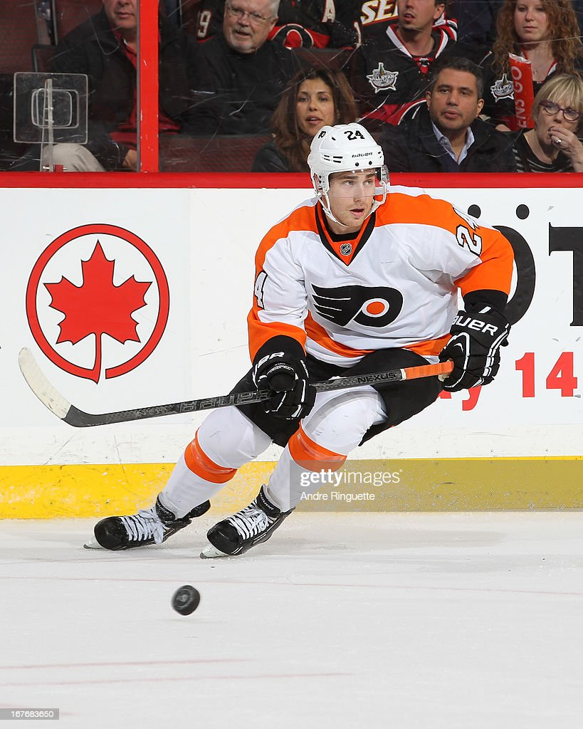 <a gi-track='captionPersonalityLinkClicked' href=/galleries/search?phrase=Matt+Read&family=editorial&specificpeople=6783206 ng-click='$event.stopPropagation()'>Matt Read</a> #24 of the Philadelphia Flyers skates against the Ottawa Senators on April 27, 2013 at Scotiabank Place in Ottawa, Ontario, Canada.