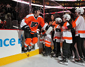 Matt Read of the Philadelphia Flyers skates onto the ice at the start of his game against the Winnipeg Jets on January 29 2015 at the Wells Fargo...