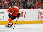 Matt Read of the Philadelphia Flyers skates the puck against the New York Rangers on January 16 2016 at the Wells Fargo Center in Philadelphia...