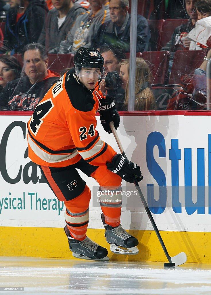 Matt Read of the Philadelphia Flyers skates the puck against the Ottawa Senators on April 11 2015 at the Wells Fargo Center in Philadelphia...
