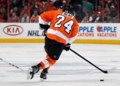 Matt Read of the Philadelphia Flyers skates the puck against the Chicago Blackhawks on March 18 2014 at the Wells Fargo Center in Philadelphia...
