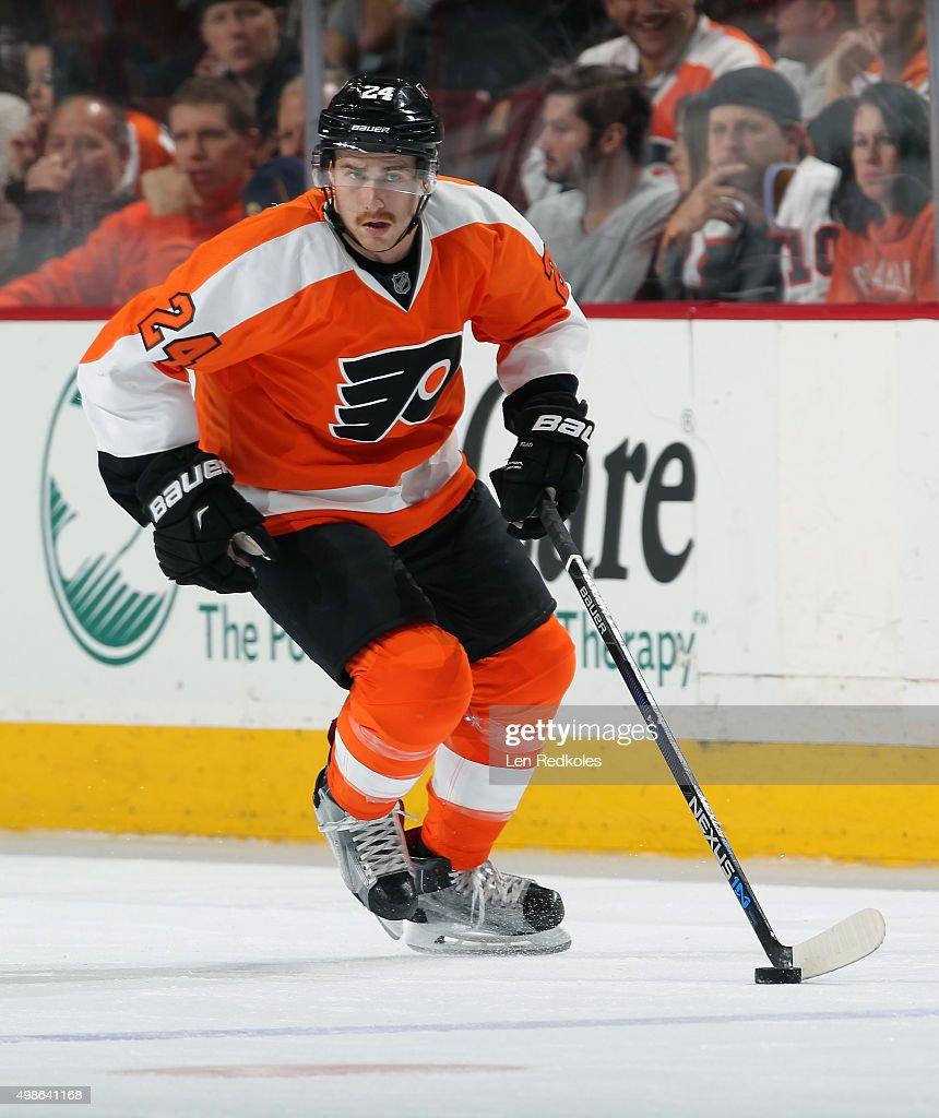 Matt Read of the Philadelphia Flyers skates the puck against the San Jose Sharks on November 19 2015 at the Wells Fargo Center in Philadelphia...