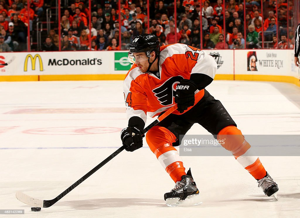 Matt Read of the Philadelphia Flyers takes the puck in the second period against the Buffalo Sabres at Wells Fargo Center on April 6 2014 in...