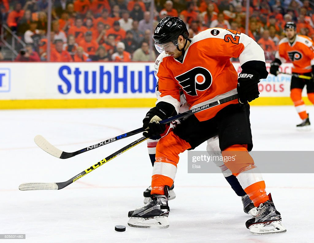 Matt Read of the Philadelphia Flyers takes the puck in the second period against the Washington Capitals in Game Three of the Eastern Conference...