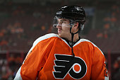 Matt Read of the Philadelphia Flyers warms up before playing against the Florida Panthers at Wells Fargo Center on October 12 2015 in Philadelphia...