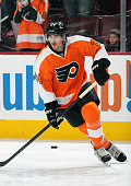 Matt Read of the Philadelphia Flyers warms up prior to his game against the Carolina Hurricanes on April 9 2015 at the Wells Fargo Center in...