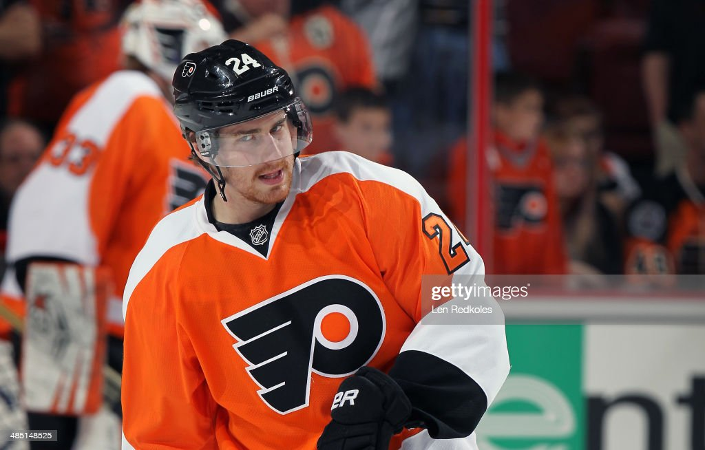 Matt Read of the Philadelphia Flyers warms up prior to his game against the Carolina Hurricanes on April 13 2014 at the Wells Fargo Center in...