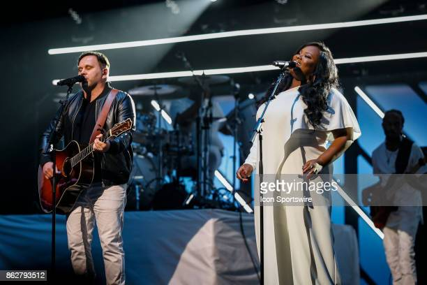 Matt Redman and Tasha Cobbs Leonard perform during the 48th Annual GMA Dove Awards in Allen Arena on October 17 2017 in Nashville TN