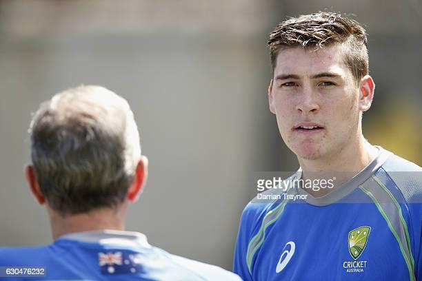 Matt Renshaw looks on during an Australian nets session on December 24 2016 in Melbourne Australia