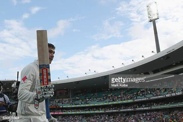 Matt Renshaw of Australia acknowledges the crowd after carry his bat and finishing the day on 167 not out during day one of the Third Test match...