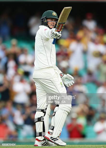 Matt Renshaw of Australia celebrates and acknowledges the crowd after scoring 150 runs during day one of the Third Test match between Australia and...