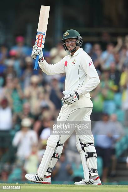 Matt Renshaw of Australia celebrates his 150 during day one of the Third Test match between Australia and Pakistan at Sydney Cricket Ground on...