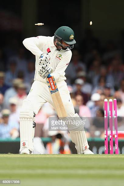 Matt Renshaw of Australia is bowled during day two of the Third Test match between Australia and Pakistan at Sydney Cricket Ground on January 4 2017...