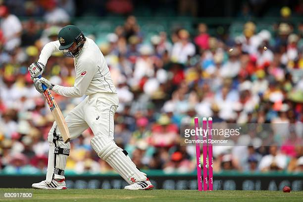 Matt Renshaw of Australia is dismissed by Imran Khan of Pakistan during day two of the Third Test match between Australia and Pakistan at Sydney...