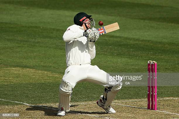 Matt Renshaw of Australia is hit in the head from a bouncer by Mohammad Amir of Pakistan during day one of the Third Test match between Australia and...