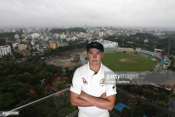 Matt Renshaw of Australia poses for a portrait prior to an Australia nets session on September 2 2017 in Chittagong Bangladesh