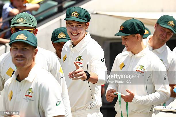 Matt Renshaw of Australia prepares to take to the field during day one of the Third Test match between Australia and South Africa at Adelaide Oval on...