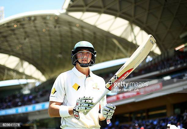 Matt Renshaw of Australia walks out to bat during day two of the Third Test match between Australia and South Africa at Adelaide Oval on November 25...