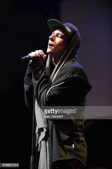 Matt Rey of the band LOS 5 performs on stage during Z100 CocaCola All Access Lounge at Z100's Jingle Ball 2016 Presented by Capital One preshow at...