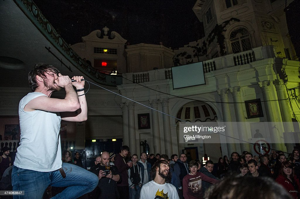 Matt Reynold of Baby Godzilla performs in the crowd during the last night of the Kerrang Tour at Brixton Academy on February 21, 2014 in London, United Kingdom.