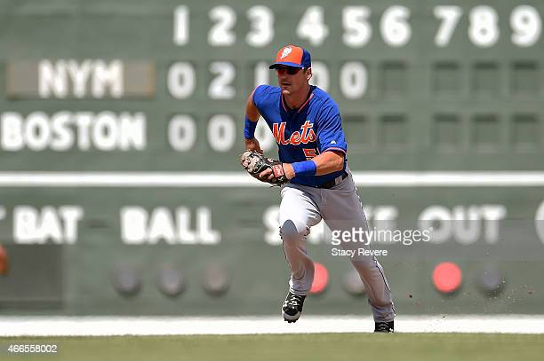 Matt Reynolds of the New York Mets anticipates a play during a spring training game against the Boston Red Sox at JetBlue Park at Fenway South on...