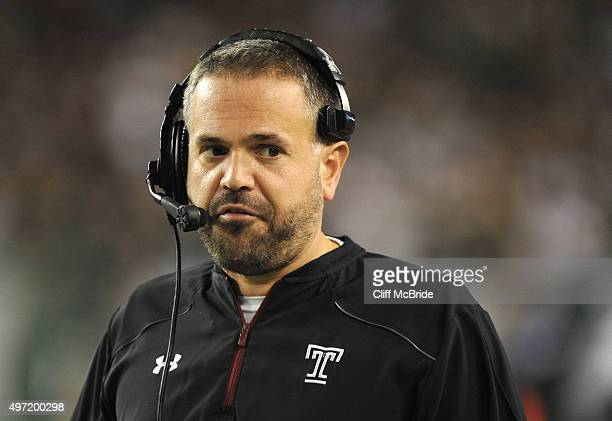 Matt Rhule head coach of the Temple Owls stands on the sidelines in the second half against the South Florida Bulls at Raymond James Stadium on...