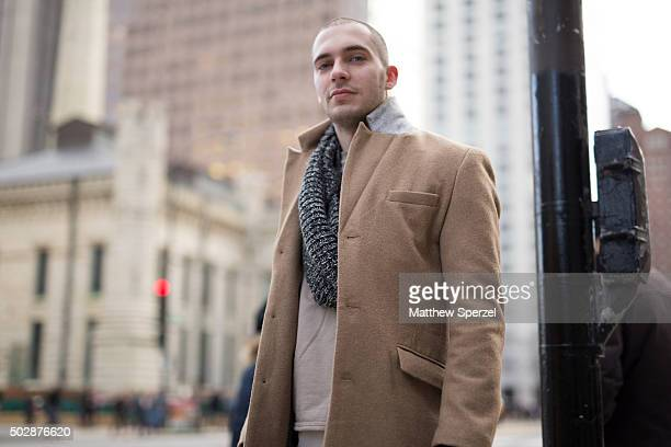 Matt Rice is seen on Michigan Avenue wearing a camel wool HM coat vanilla cotton HM shirt and classic tan leather Timberland boots on December 17...