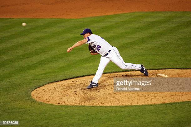 Matt Riley 348 of the Texas Rangers pitches during the game with the Oakland Athletics on April 18 2005 at Ameriquest Field in Arlington in Arlington...