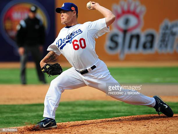 Matt Riley of the Los Angeles Dodgers pitches during the second Major League Baseball game in China on March 16 2008 at the Wukesong Baseball Stadium...