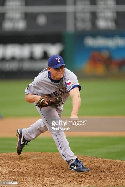 Matt Riley of the Oakland Athletics pitches during the game against the Texas Rangers at McAfee Coliseum on May 4 2005 in Oakland California The...