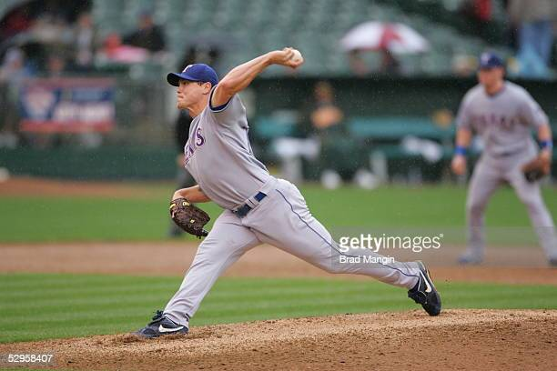 Matt Riley of the Texas Rangers pitches during the game against the Oakland Athletics at McAfee Coliseum on May 4 2005 in Oakland California The...