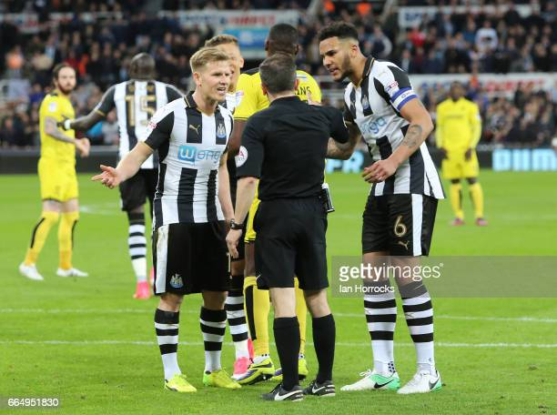 Matt Ritchie argues with the referee after scoring a penalty which was later disallowed during the Sky Bet Championship match between Newcastle...