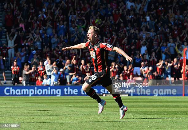 Matt Ritchie of AFC Bournemouth celebrates scoring their second goal during the Barclays Premier League match between AFC Bournemouth and Sunderland...