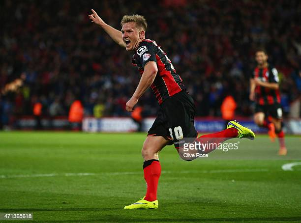 Matt Ritchie of Bournemouth celebrates as he scores their second goal during the Sky Bet Championship match between AFC Bournemouth and Bolton...