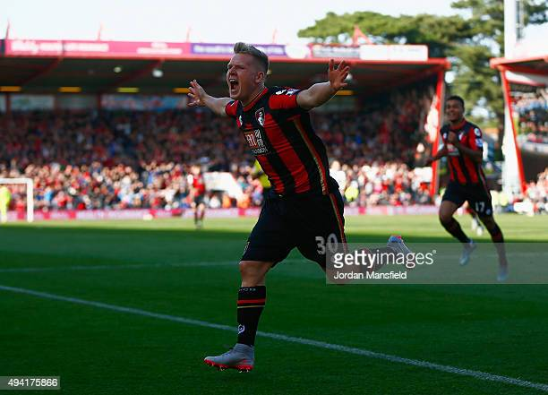 Matt Ritchie of Bournemouth celebrates scoring his team's first goal during the Barclays Premier League match between AFC Bournemouth and Tottenham...