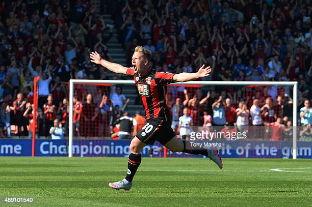 Matt Ritchie of Bournemouth celebrates scoring his team's second goal during the Barclays Premier League match between AFC Bournemouth and Sunderland...