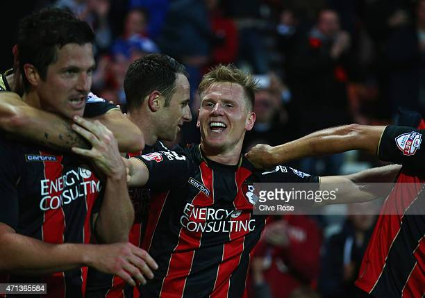 Matt Ritchie of Bournemouth celebrates with team mates as he scores their second goal during the Sky Bet Championship match between AFC Bournemouth...