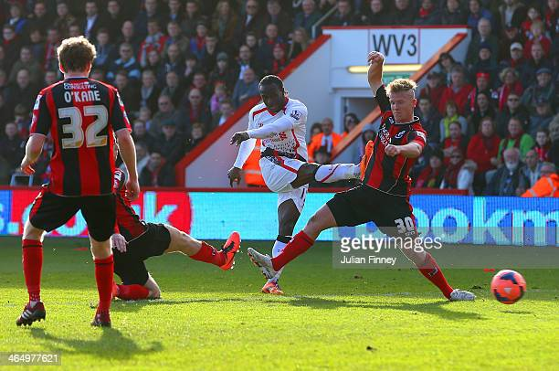 Matt Ritchie of Bournemouth fails to block Victor Moses of Liverpool as he scores the opening goal during the FA Cup Fourth Round match between...