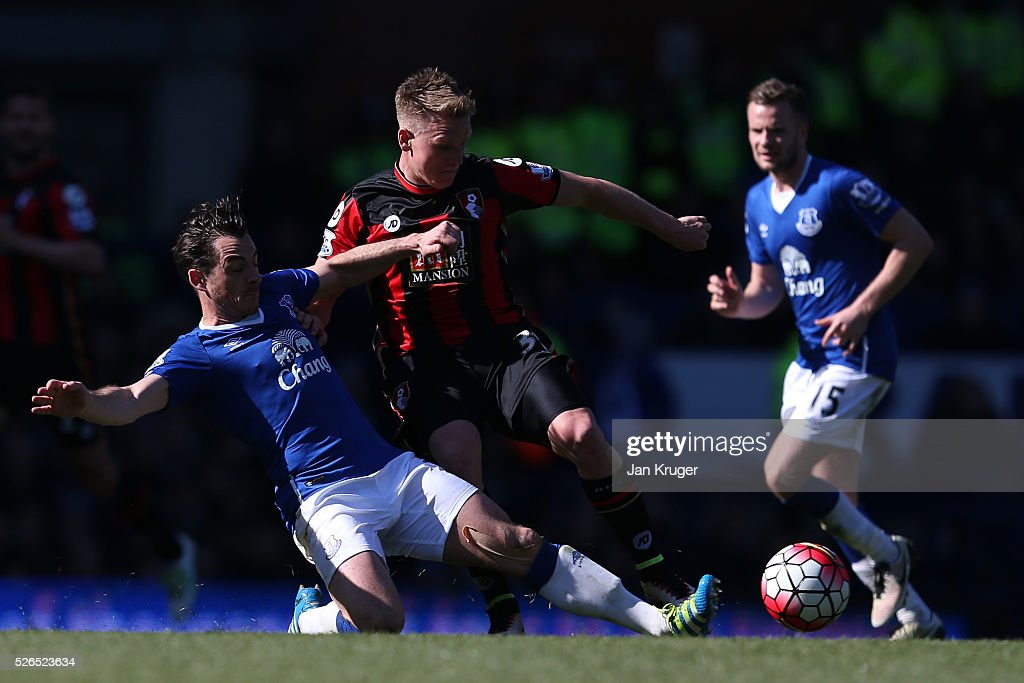 Matt Ritchie of Bournemouth is tackled by Leighton Baines of Everton during the Barclays Premier League match between Everton and A.F.C. Bournemouth at Goodison Park on April 30, 2016 in Liverpool, England.