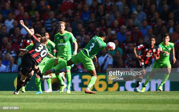 Matt Ritchie of Bournemouth scores his team's second goal during the Barclays Premier League match between AFC Bournemouth and Sunderland at Vitality...