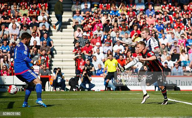 Matt Ritchie of Bournemouth scores their first goal during the Barclays Premier League match between AFC Bournemouth and West Bromwich Albion at the...