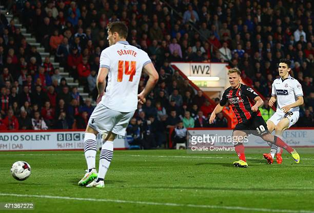 Matt Ritchie of Bournemouth scores their second goal during the Sky Bet Championship match between AFC Bournemouth and Bolton Wanderers at Goldsands...