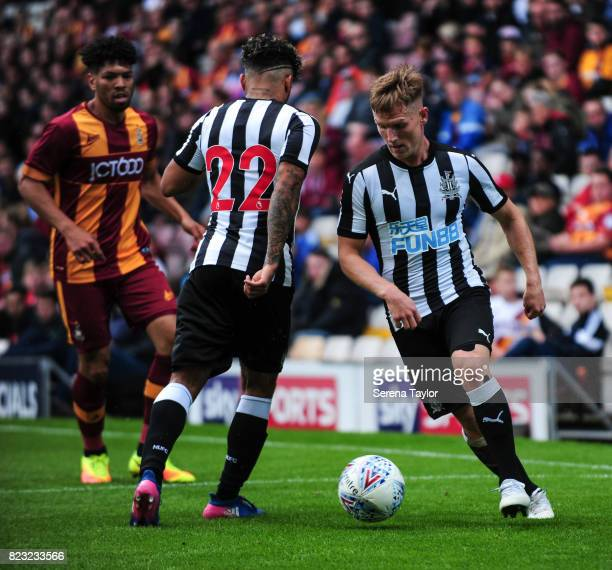Matt Ritchie of Newcastle United and DeAndre Yedlin pass the ball during the the Pre Season Friendly between Bradford City and Newcastle United at...