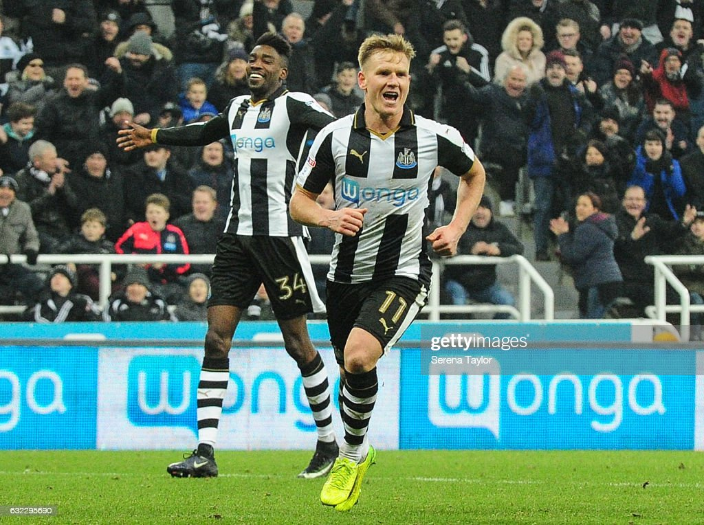 Matt Ritchie of Newcastle United (11) celebrates after he scores his second and Newcastle's fourth goal during the Sky Bet Championship match between Newcastle United and Rotherham United at St.James'Park on January 21, 2017 in Newcastle upon Tyne, England.