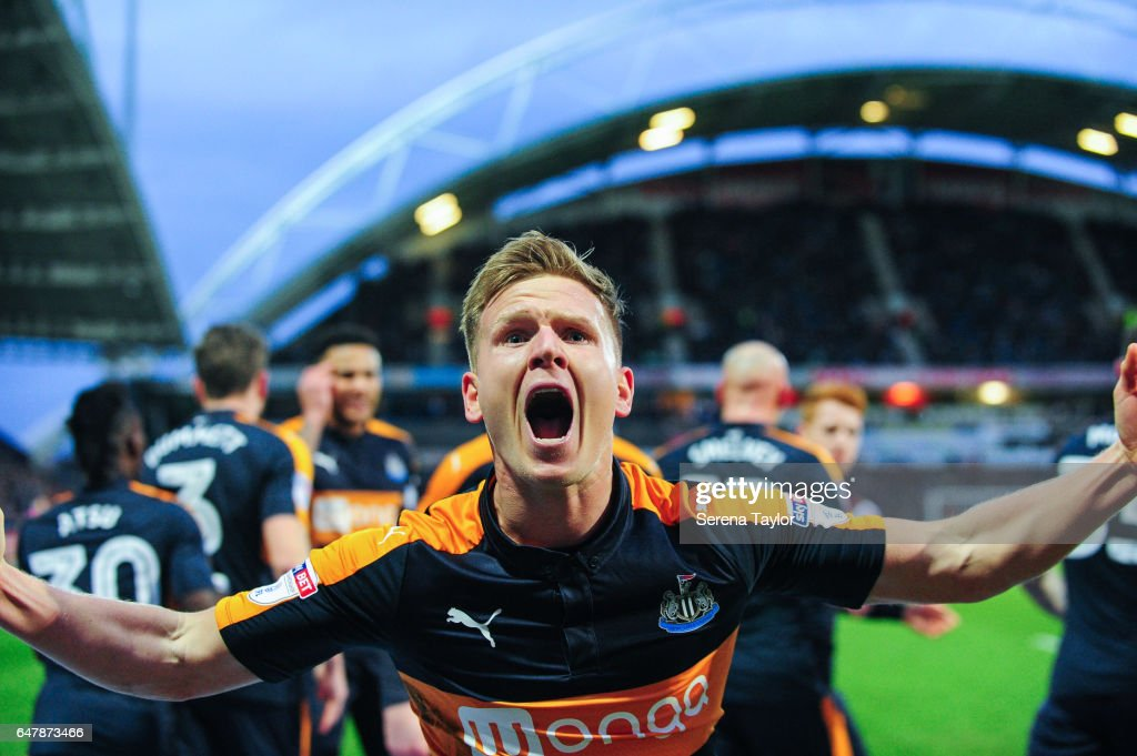 Matt Ritchie of Newcastle United (11) celebrates after scoring a penalty and Newcastle's first goal during the Sky Bet Championship Match between Huddersfield Town and Newcastle United at John Smith's Stadium on March 4, 2017 in Huddersfield, England.