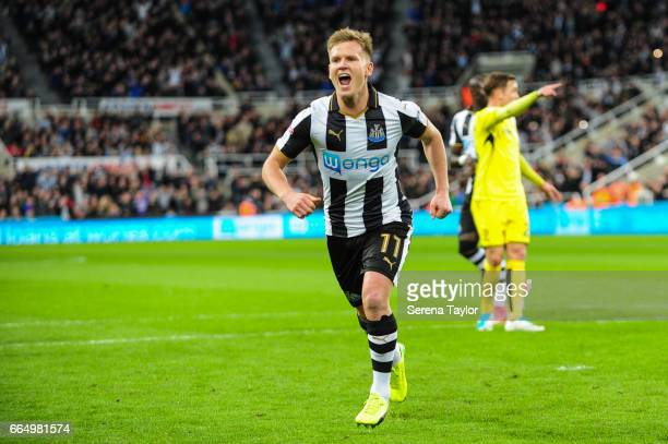 Matt Ritchie of Newcastle United celebrates after scoring a penalty which is then disallowed during the Sky Bet Championship Match between Newcastle...