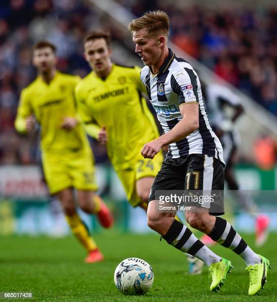 Matt Ritchie of Newcastle United controls the ball during the Sky Bet Championship Match between Newcastle United and Burton Albion at StJames' Park...